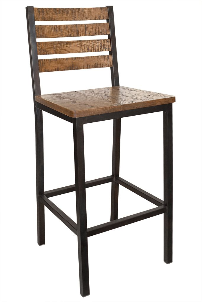 Elliot Collection Weathered Iron Bar Stool With Distressed Oak