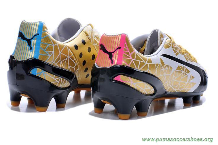 Black GOLD Kangaroo skin Puma evoSPEED 1.2 K FG Mens Indoor Soccer Shoes 01da902b21