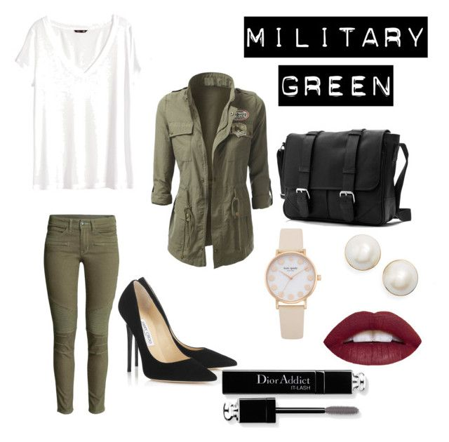 """""""Military Green Look"""" by andrea-giannotta on Polyvore featuring H&M, Jimmy Choo, Kate Spade and Christian Dior"""