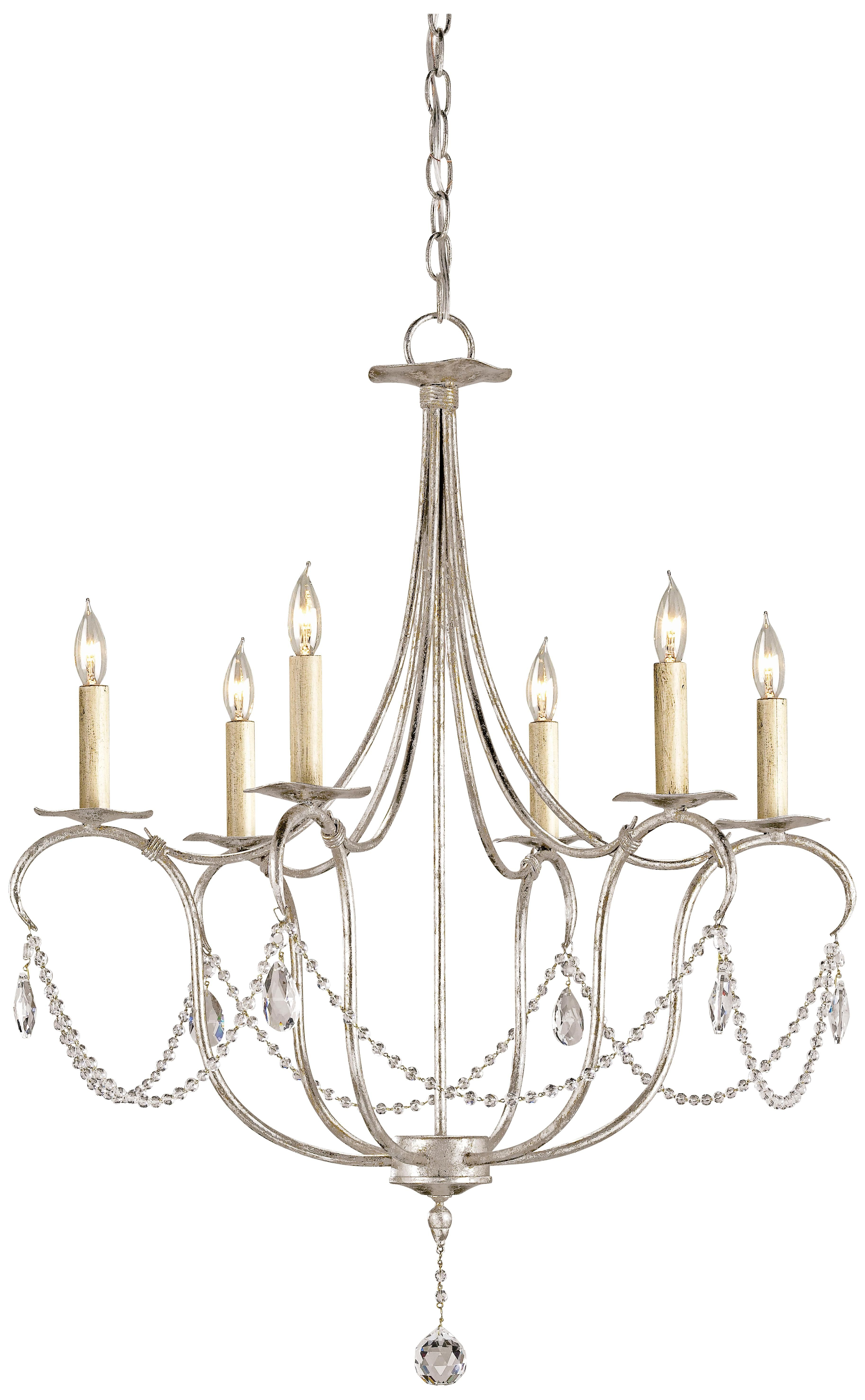 "Currey and pany 27"" Wide Silver Leaf Crystal Chandelier"