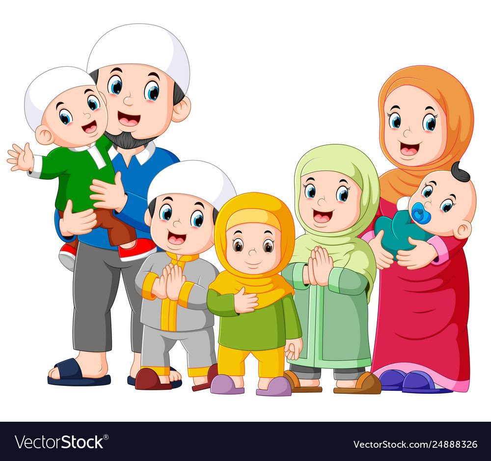 A Muslim Family Are Celebrating Ied Mubarak Vector Image On