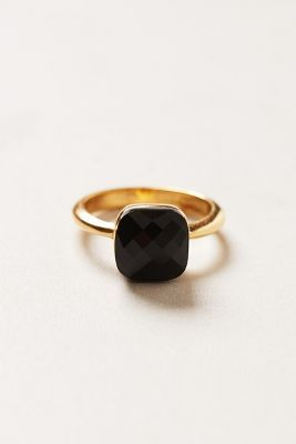59a225caa Radiant Stacking Ring. Black stone with a thin gold band with just the  right amount of organic shape. #drestfinds @drestmaker