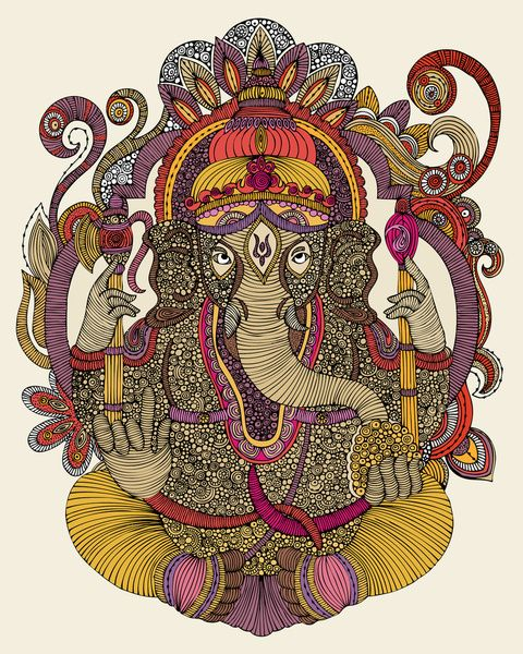 "Lord Ganesha by Valentina ART PRINT / MINI (8"" X 9"") $18.00"