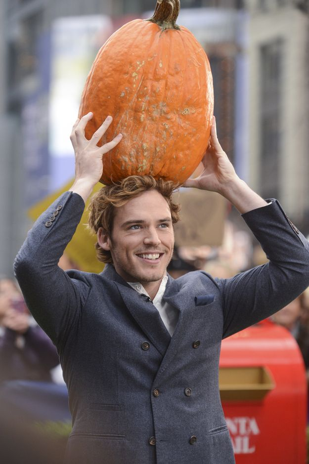 SAM CLAFLIN + PUMPKIN= OK WHATEVER YES YOU ARE AMAZING THE END YOU LOOK GREAT WITH PUMPKINS DUDE