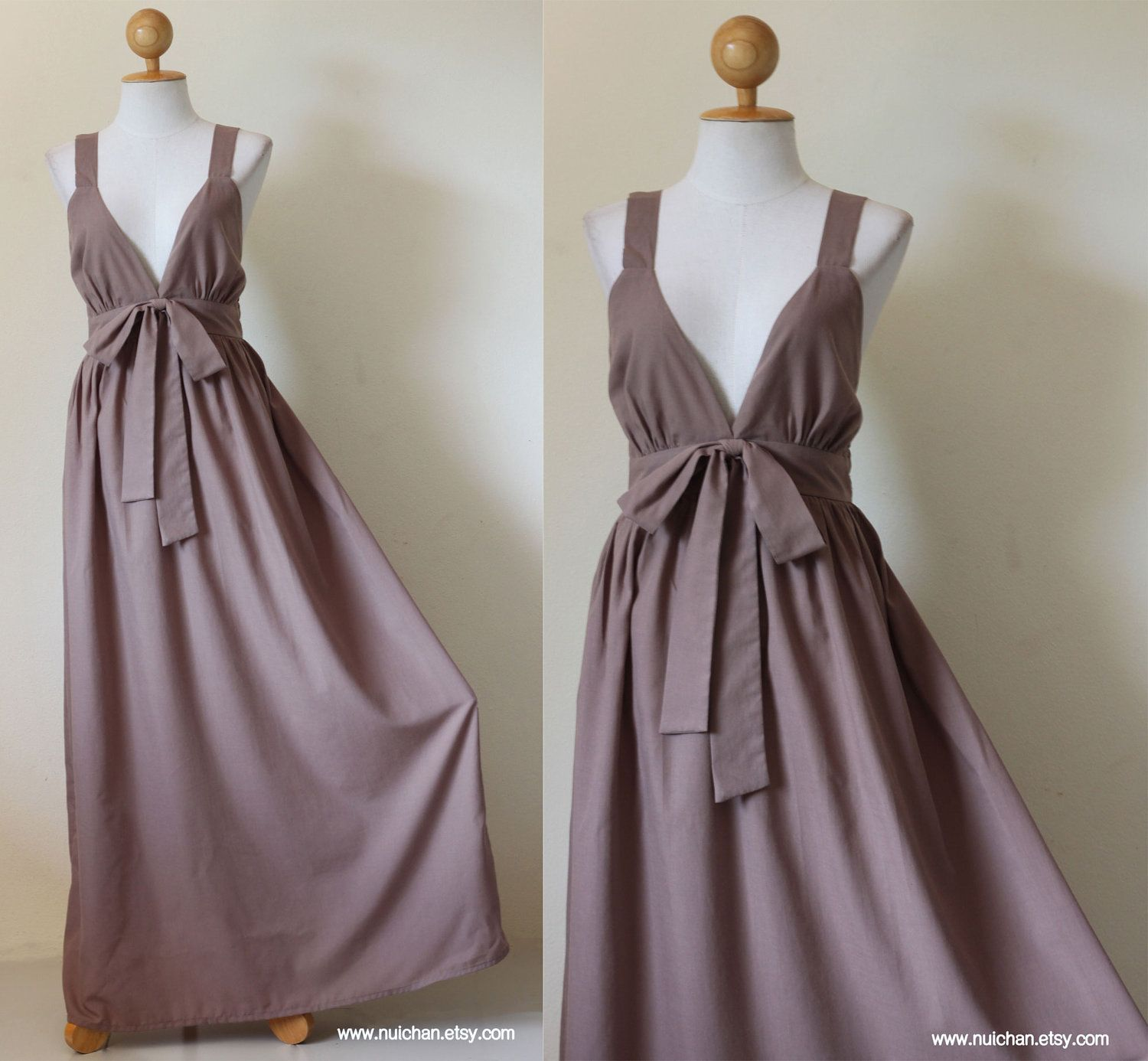 Dress to wear to a fall wedding  Long Maxi Dress Light Brown Cocktail Bridesmaid  Love Party