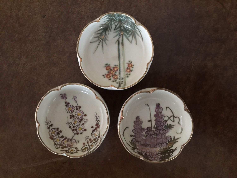 Vintage Porcelain Soy Sauce Bowls Set of 3 by AlbertsonMiller on Etsy