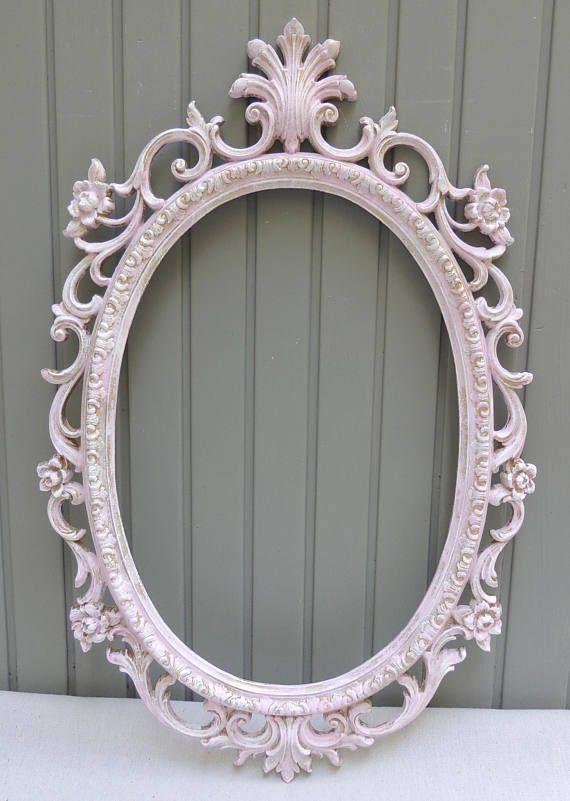 Vintage Pink Oval Mirror, Ornate Oval Wall Hanging Mirror, Bathroom ...