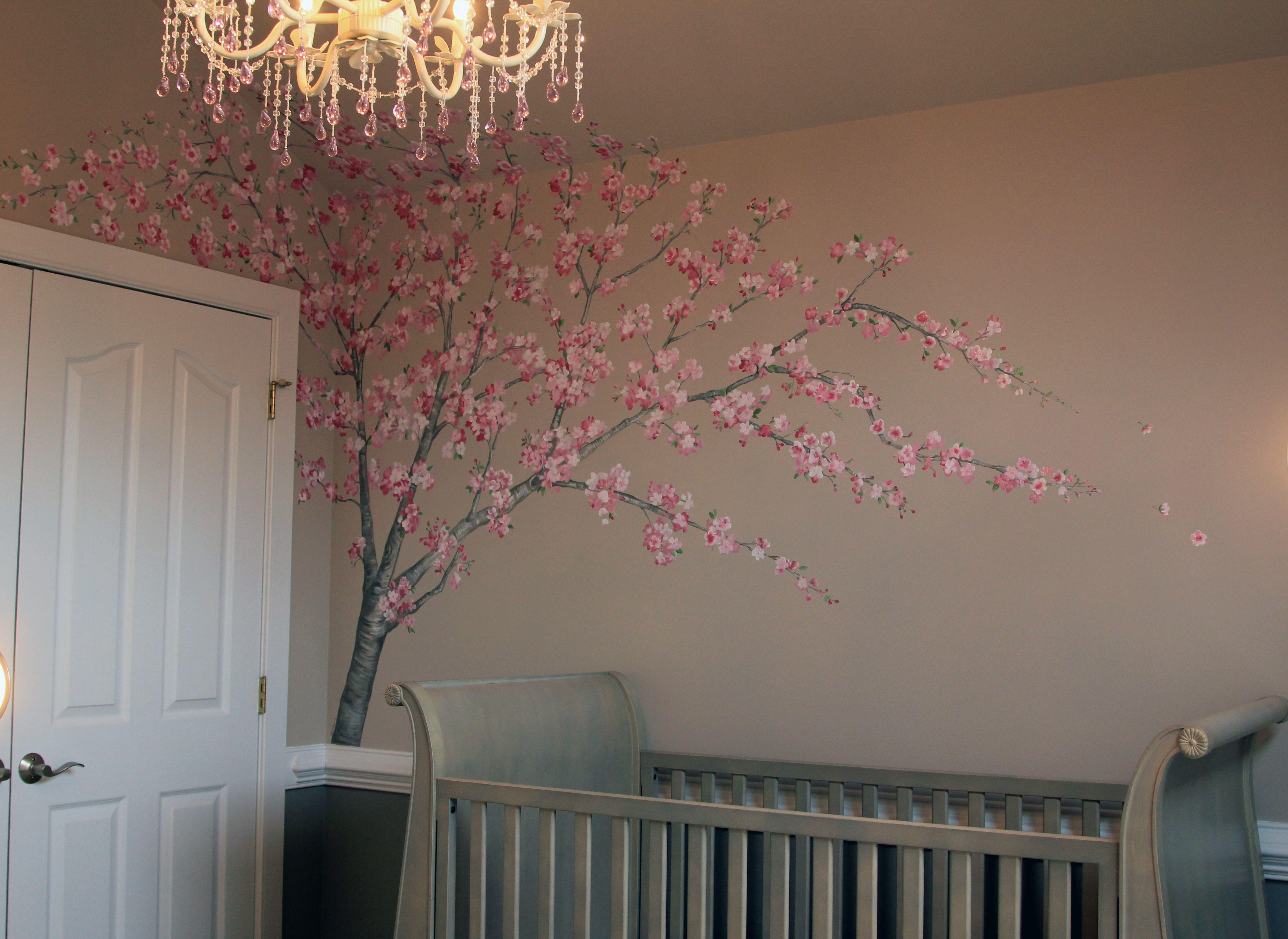Crib Restoration Hardware In French Gray Cherry Blossom Nursery Nursery Inspiration Nursery Decor