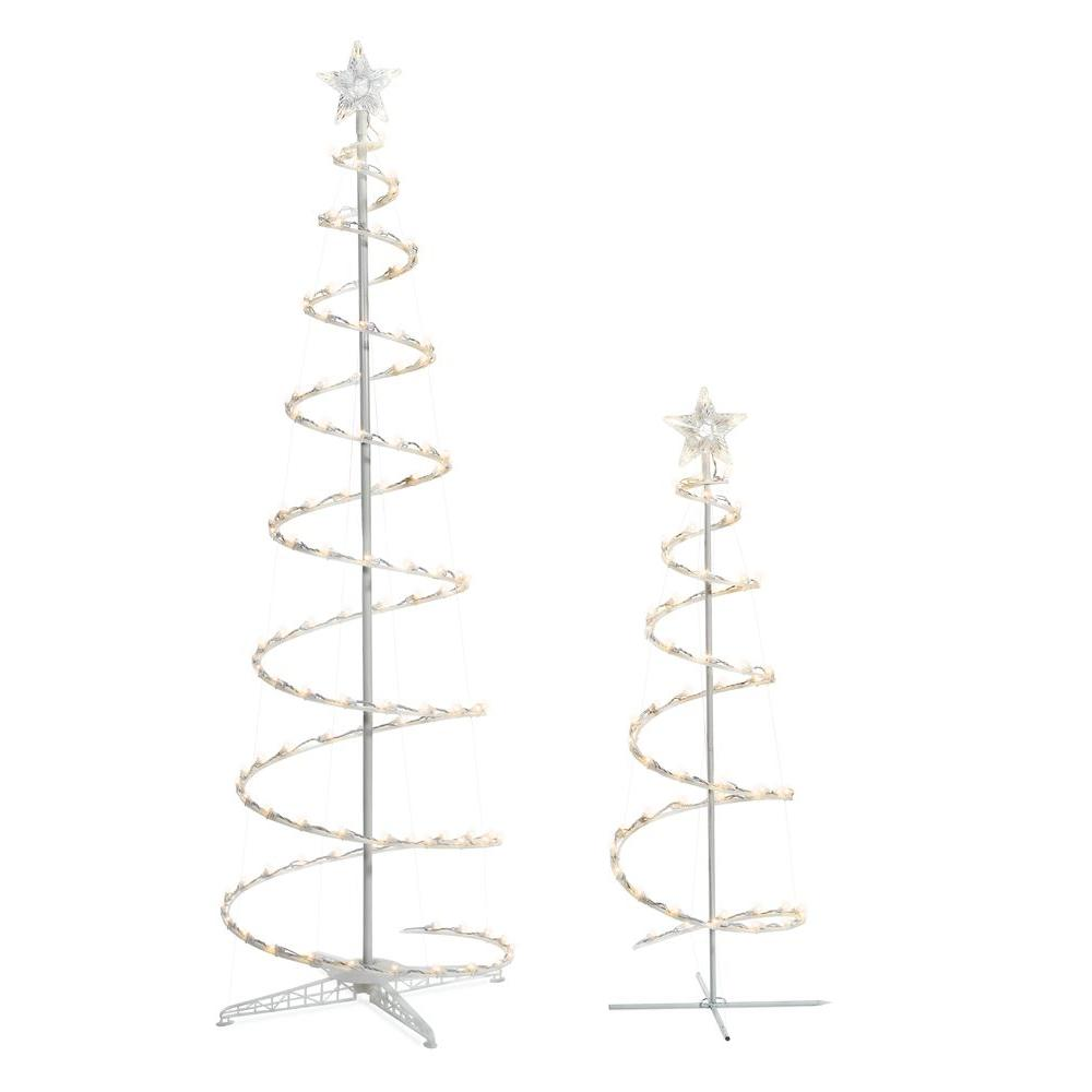 Home Accents Holiday 2 Piece Led Spiral Tree Spiral Christmas Tree Spiral Tree Plastic Outdoor Christmas Decorations