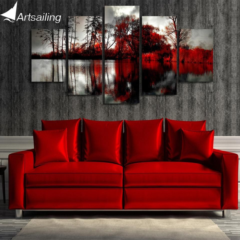 10 Most Popular Red Living Room Wall Art