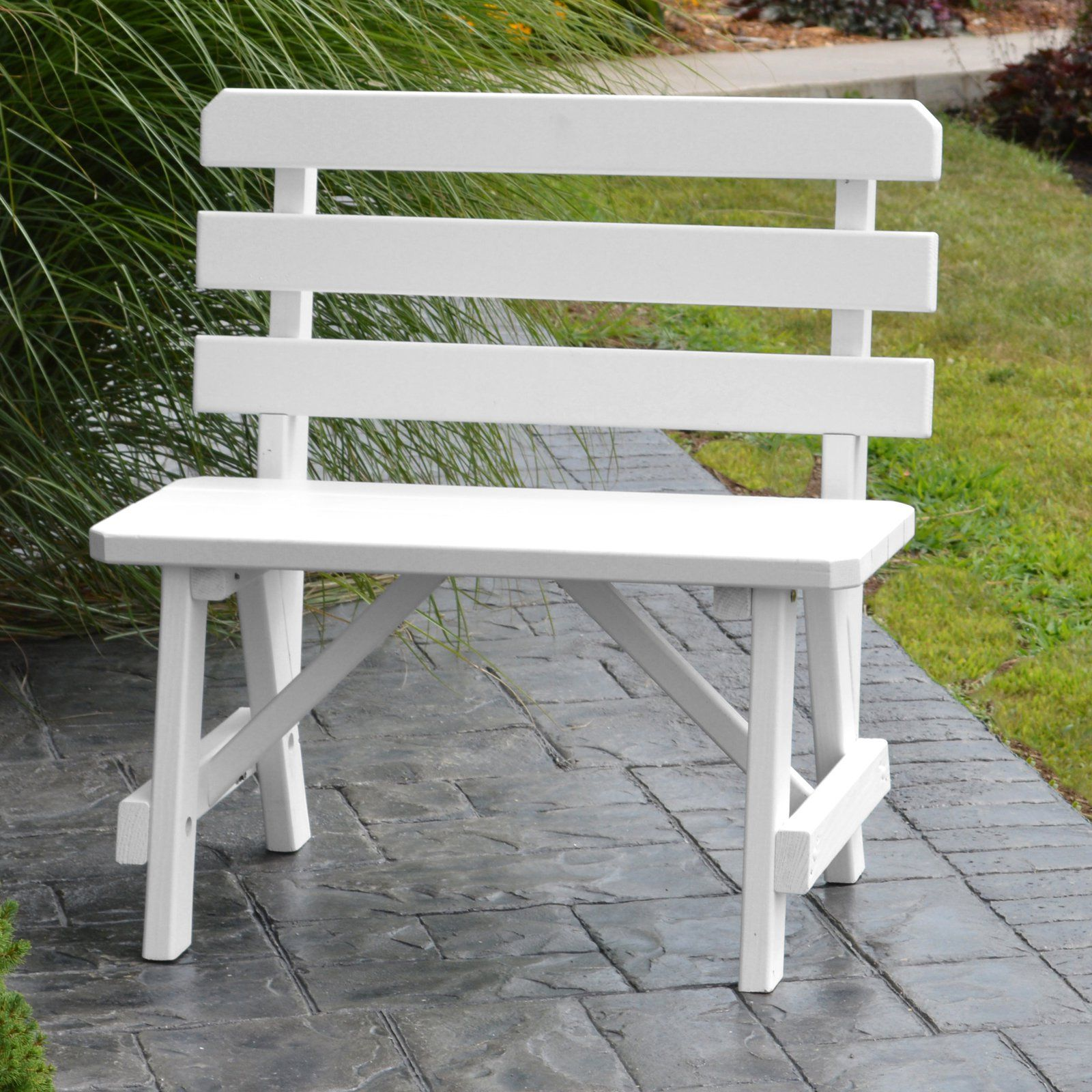 Outdoor A L Furniture Yellow Pine Traditional Backed Bench Red Tractor Red In 2020 Used Outdoor Furniture Outdoor Christmas Decorations Furniture