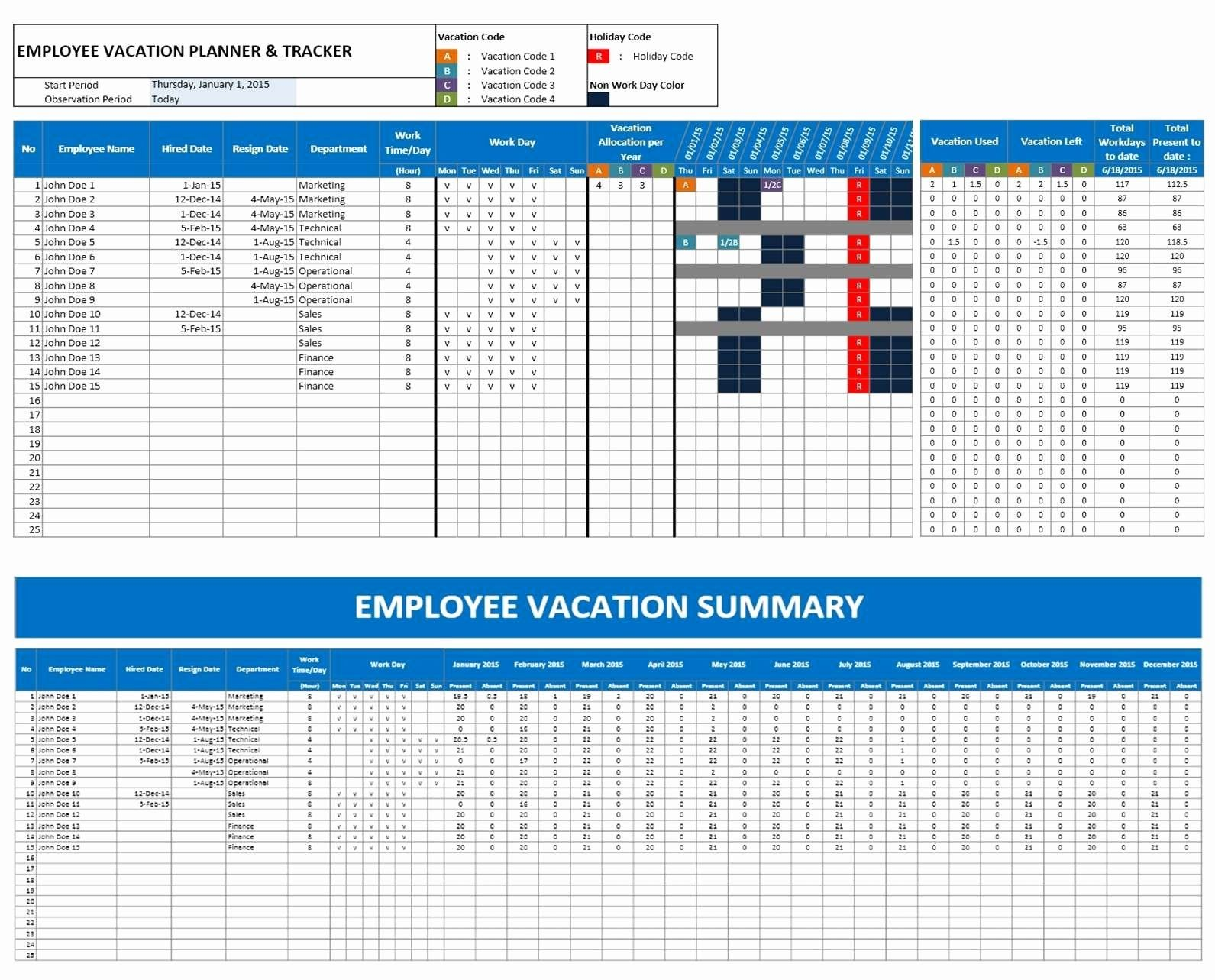 Employee Vacation Tracking Spreadsheet Template Awesome Free