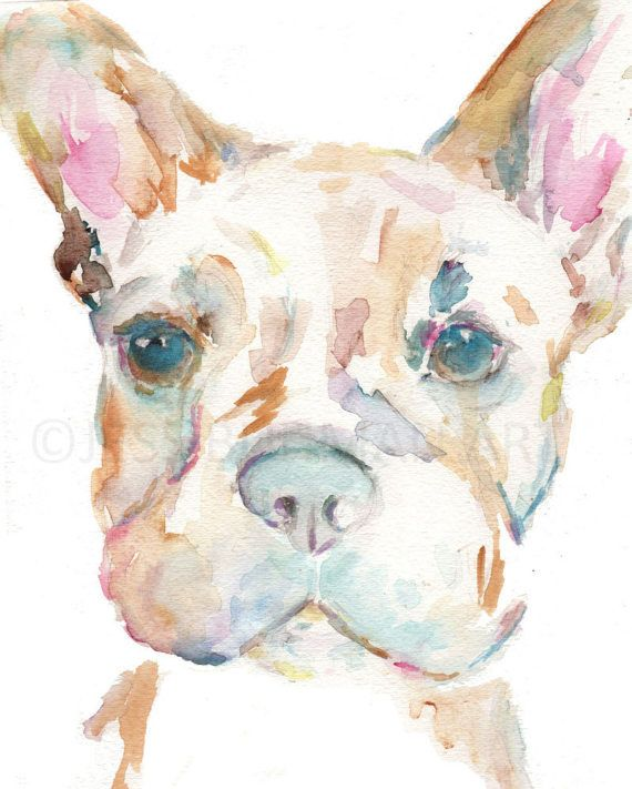 French Bulldog Watercolor Print Dog Watercolor Painting Print Of