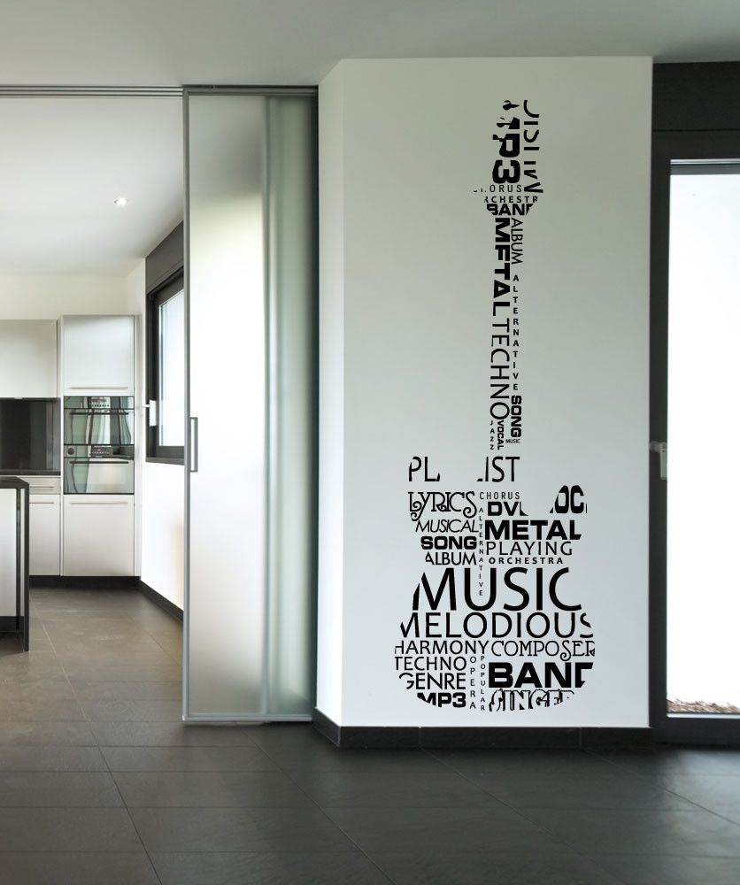 Vinyl Wall Decal Sticker Music Words Guitar 1162 Wall Stickers