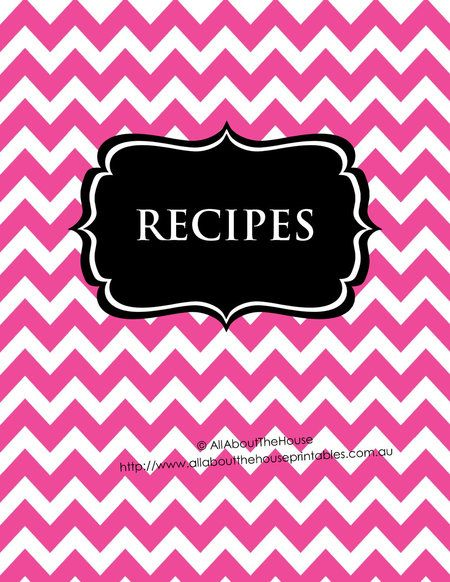 Printable recipe binder pink chevron and black editable - includes - binder spine template