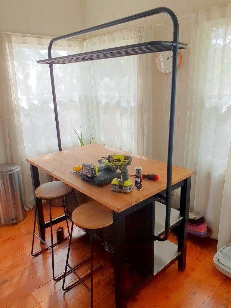 Rebuild Ikea Bar Table Decoration STENSTORP Kitchen island with rack ala the new VADHOLMA Ikea Island Hack,  Kitchen Island Hack