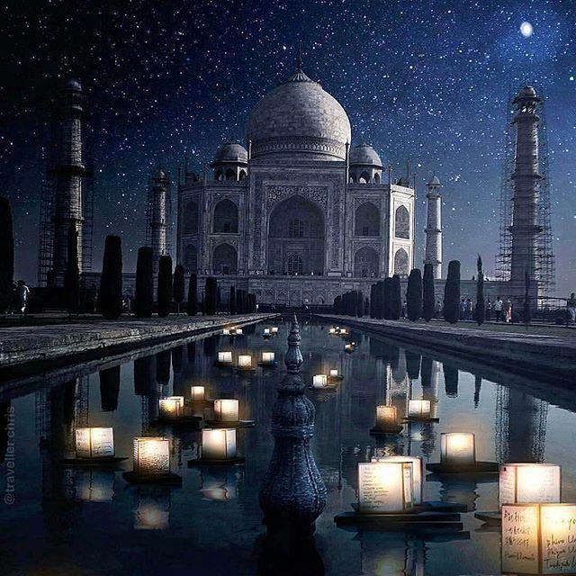India Taj Mahal At Night