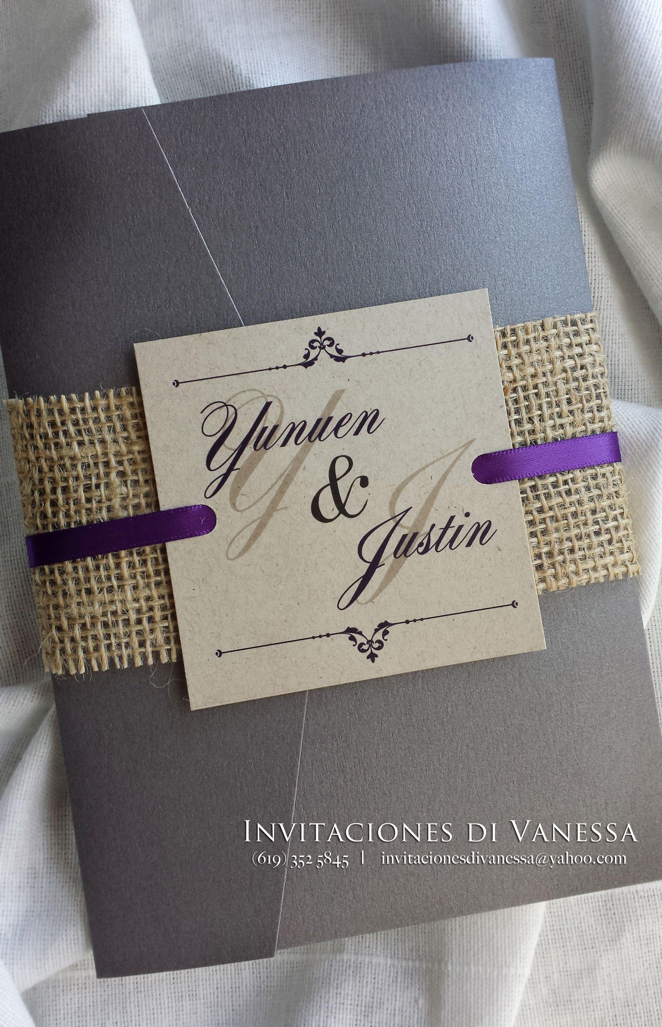 pocket wedding invites australia%0A Vintage Wedding invitation pocket fold with recycled cardstock and yute  enclosure  For orders invitacionesdivanessa