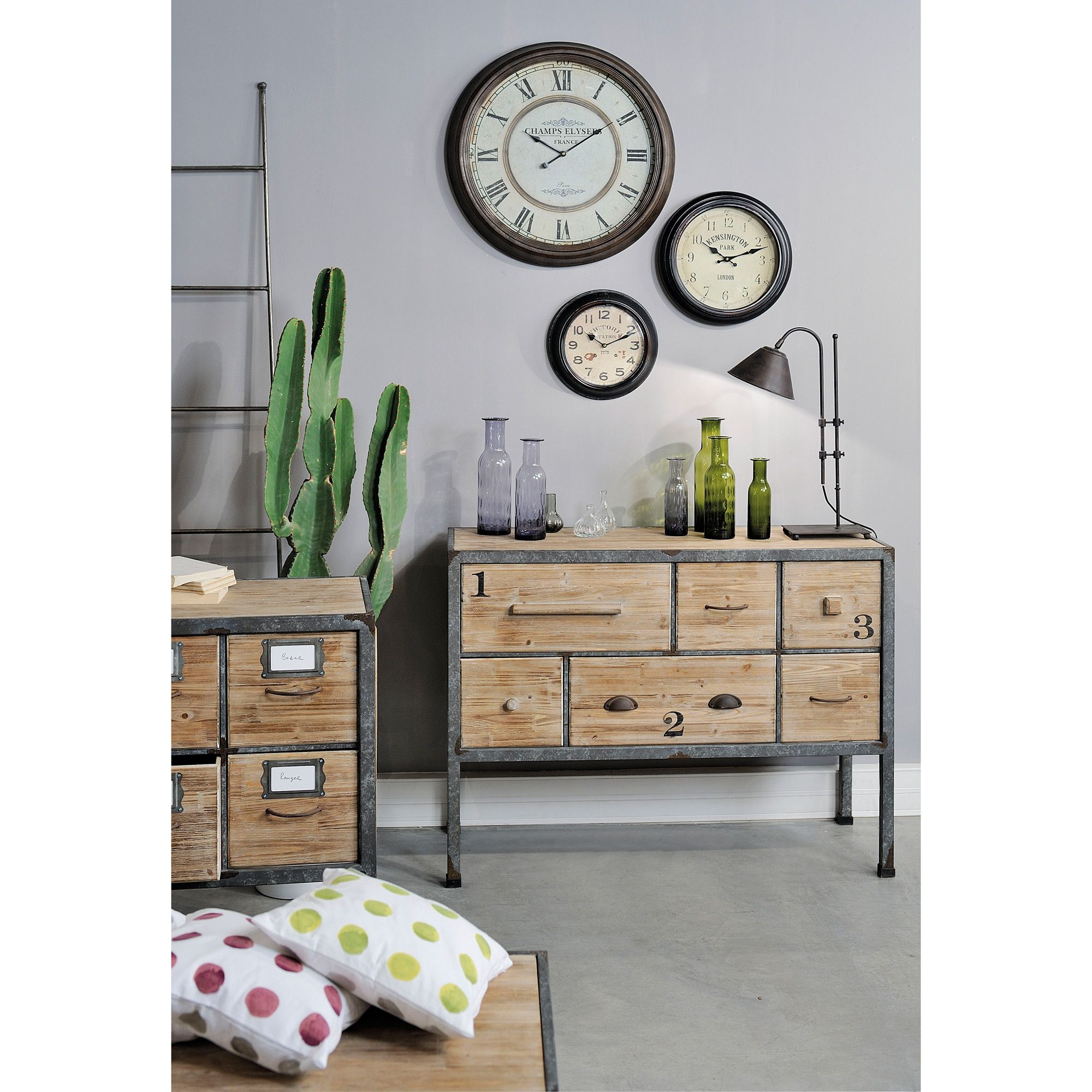 Horloge Industrielle En Metal Marron Champs Elysees D 60cm Stylus Jardin D Ulysse Port Offert Mobilier De Salon Decoration Maison Deco