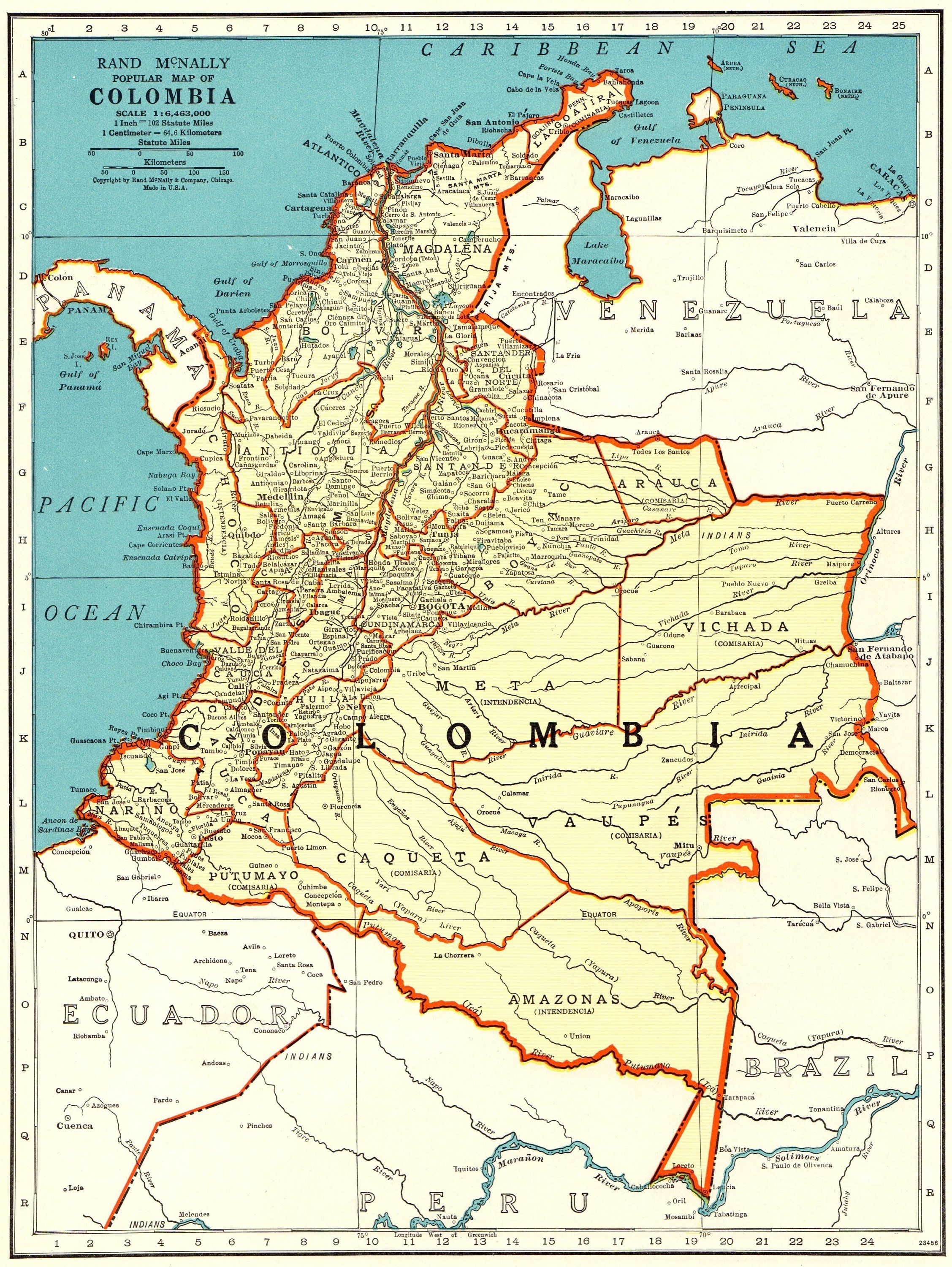 1937 Antique COLOMBIA MAP Vintage Map of Colombia Gallery Wall Art ...
