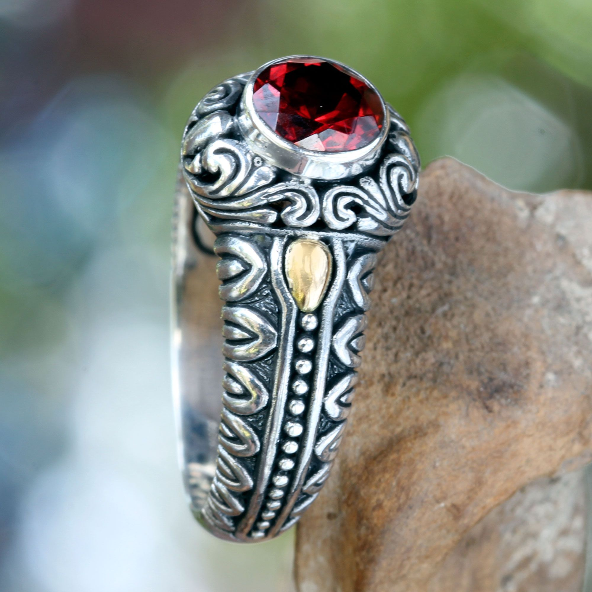 Garnet and Gold Accented Silver Cocktail Ring - Crimson Treasure | NOVICA