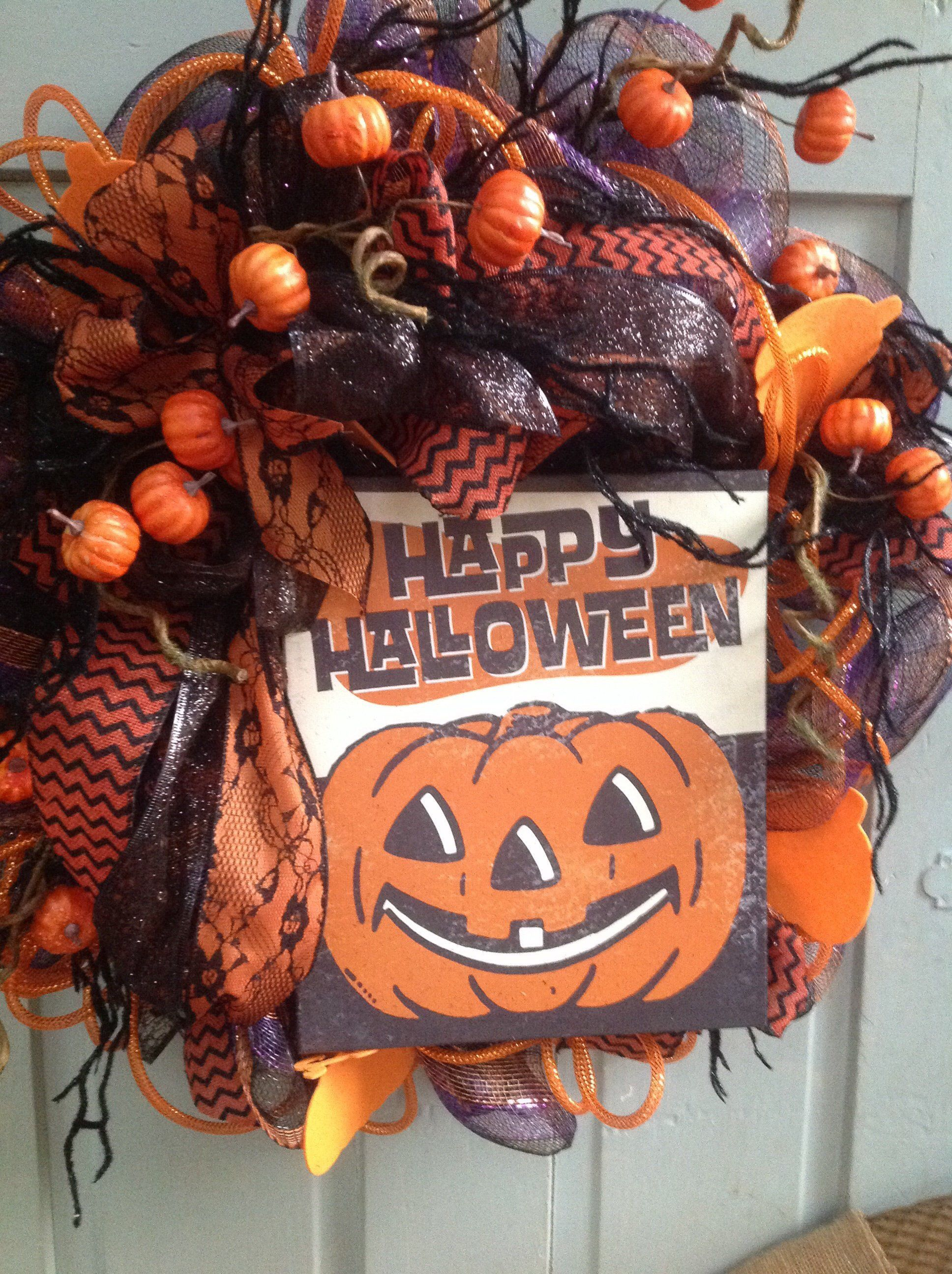 Excited To Share This Item From My Etsy Shop Happy Halloween Vintage Look Deco Mesh Wreath W Witch Halloween Wreath Deco Mesh Wreaths Halloween Decorations