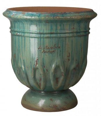 jarre tulipe patin e turquoise la poterie de la madeleine v ritable poterie d 39 anduze en terre. Black Bedroom Furniture Sets. Home Design Ideas