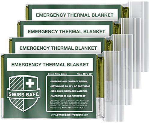 Emergency Survival Rain Poncho Reusable Mylar Thermal Blanket Green 4-Pack