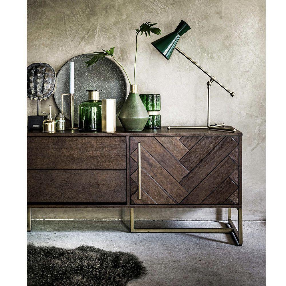 Buffet Design En Laiton Et Bois H60cm Dutchbone Class