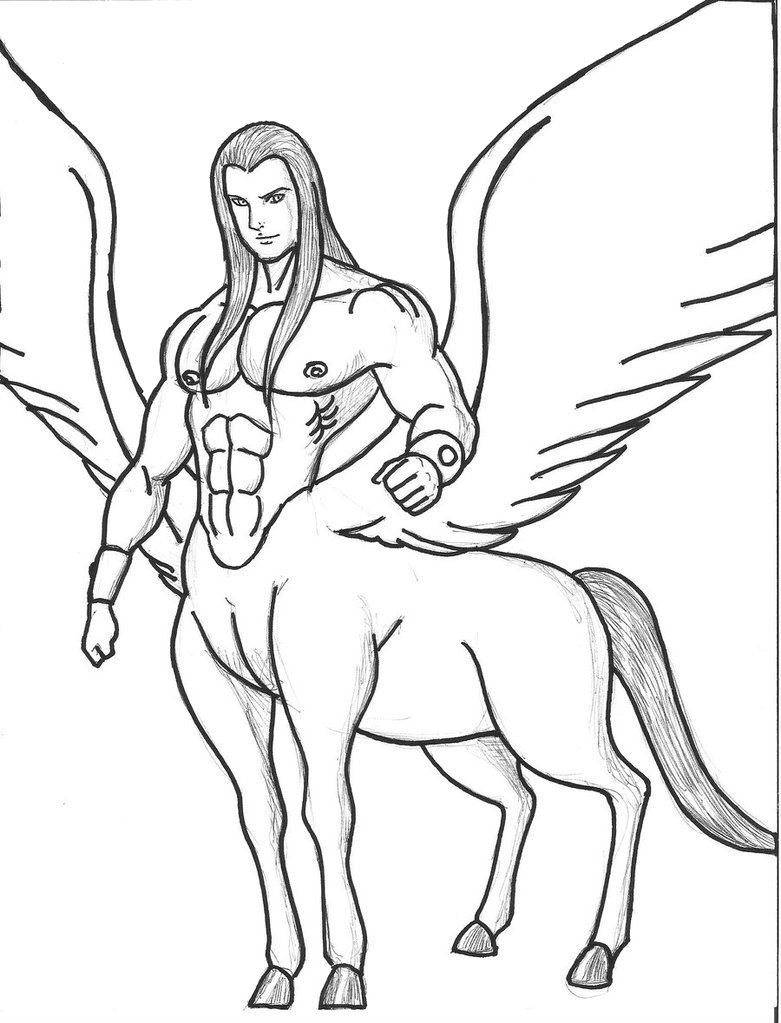 Centaur Long Haired Centaur Coloring Page Coloring Pages Centaur Color