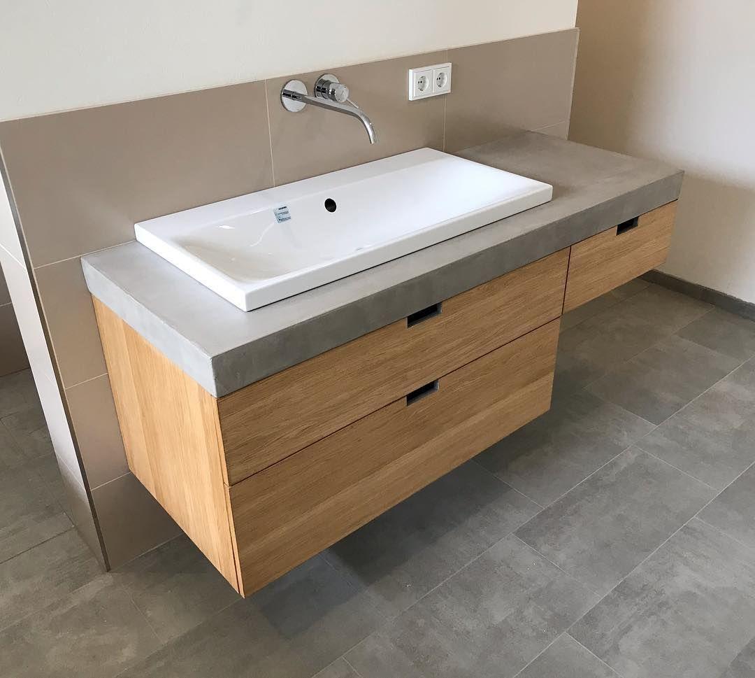 Hande Waschen Nicht Vergessen Waschtisch Eichenholz Beton Waschbecken Waschbeckenunterschrank Bad Badezimmer Ei Badezimmer Waschtisch Badezimmer Design
