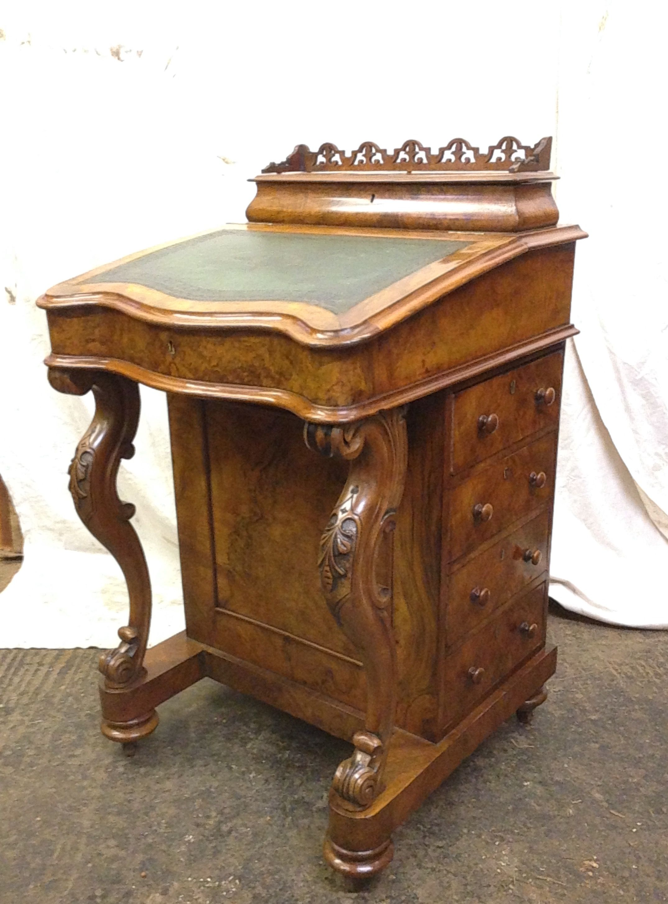 Antique Victorian Walnut Davenport After Restoration
