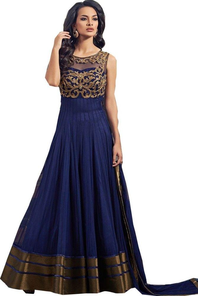 Navy Blue Fancy Partywear Gown 07