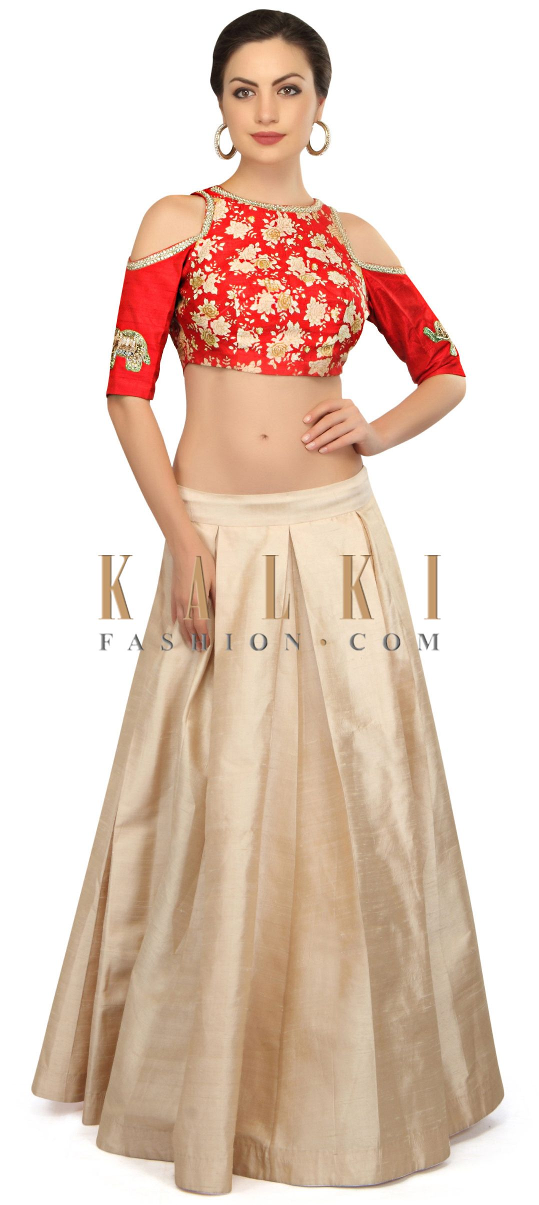 Cream lehenga in box pleat and floral print crop top only