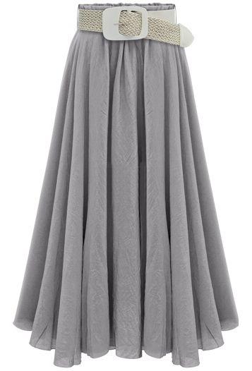 0db583910e6 Shop Grey Belt Pleated Long Skirt online. SheIn offers Grey Belt Pleated Long  Skirt  amp