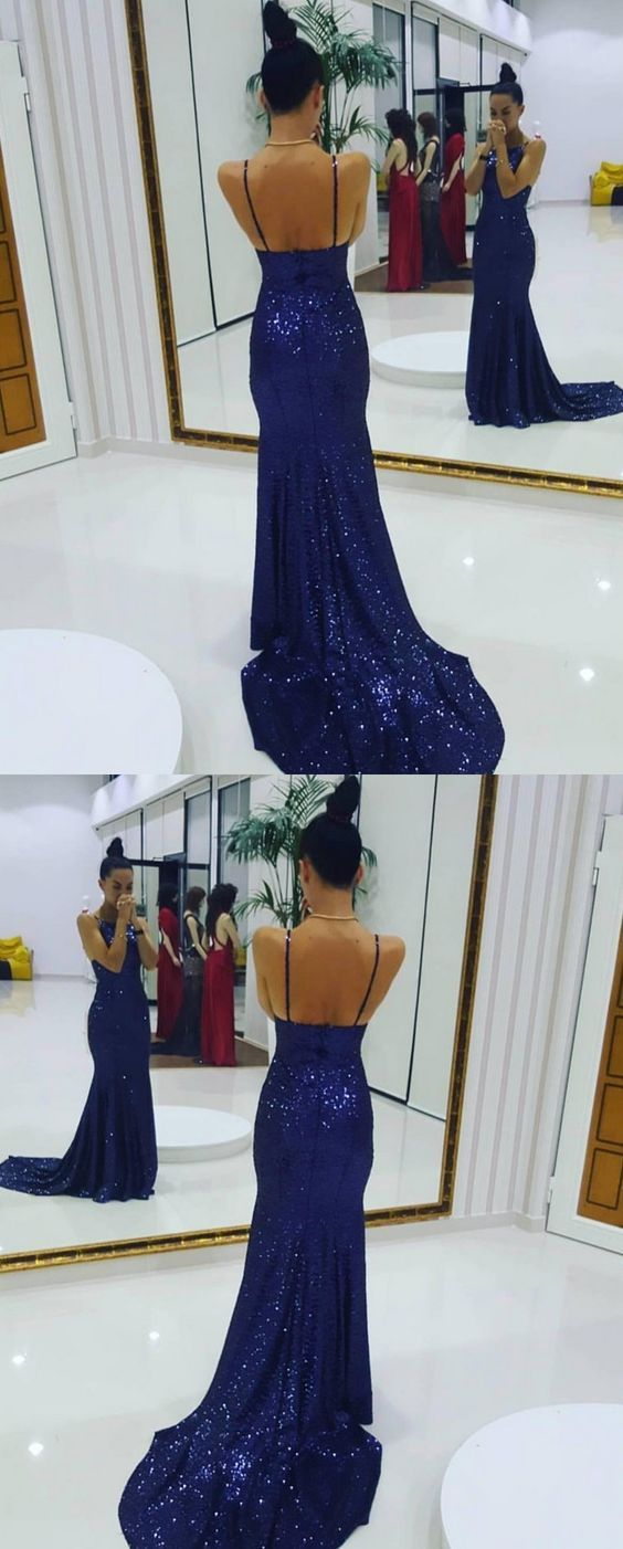 Royal blue prom dresssequin prom dresslong mermaid prom dress