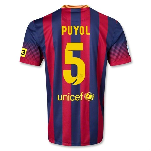 13-14 Barcelona #5 PUYOL Home Soccer Jersey Shirt