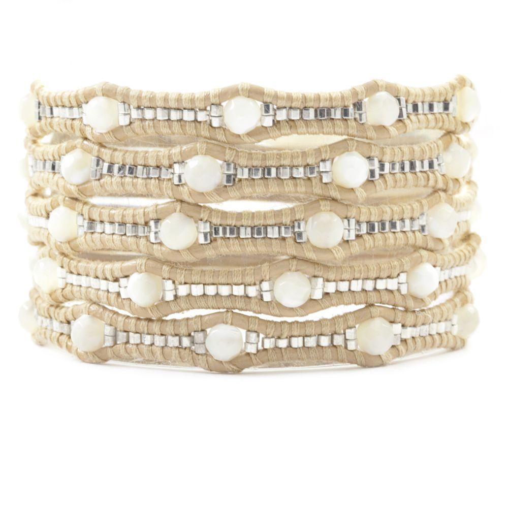 White MOP Scalloped Wrap Bracelet on Petal Leather - Chan Luu