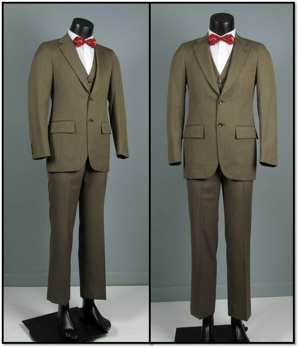 Vintage Mens Suit 1960s RICHMAN BROTHERS Light Brown Herringbone ...