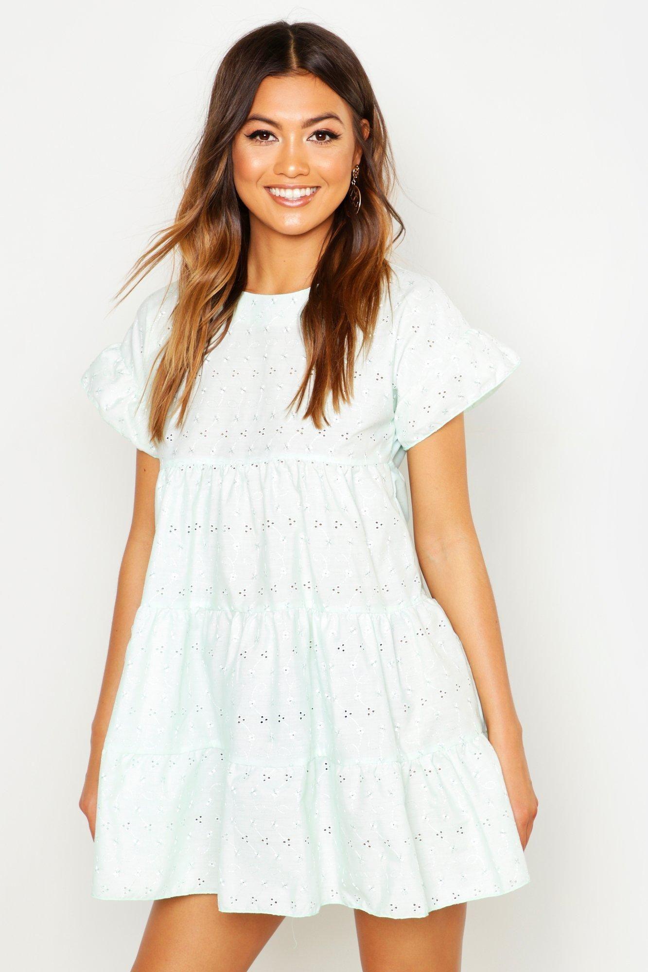 Eyelet Smock Dress Boohoo Bodycon Fashion Smock Dress Summer Dresses For Women [ 2000 x 1333 Pixel ]