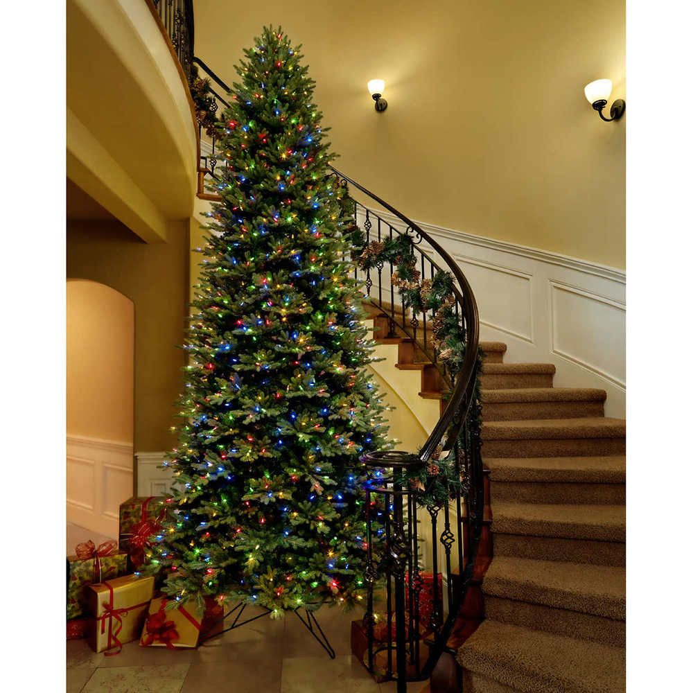 Artificial 12 Foot Christmas Tree Pre Lit Aspen Fir Multi Color 1200 Led Lights Simple Lighting Colorful Christmas Tree Pre Lit Christmas Tree