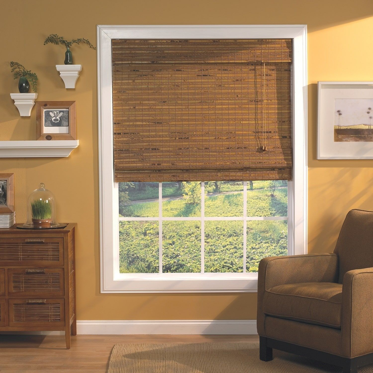 New window coverings 2018  radiance havana pecan woven wood bamboo roman shade  inches