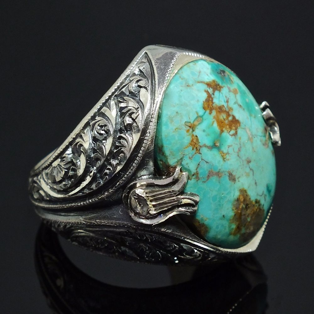 Turquoise Ring Sterling Silver unique handcrafted mens
