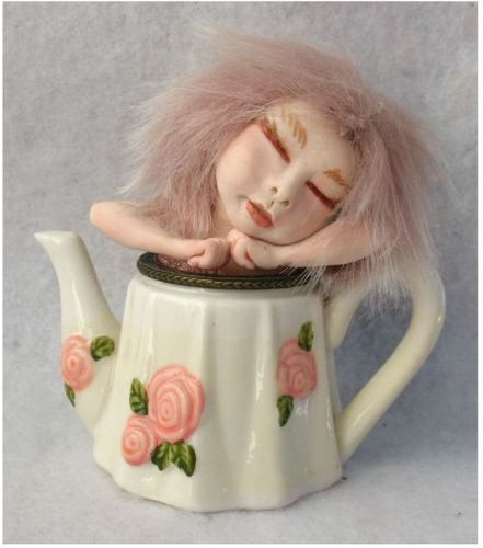 Sleeping Pink Teapot Tea Leaf OOAK Fairy  http://cgi.ebay.com/ws/eBayISAPI.dll?ViewItem=150990599880