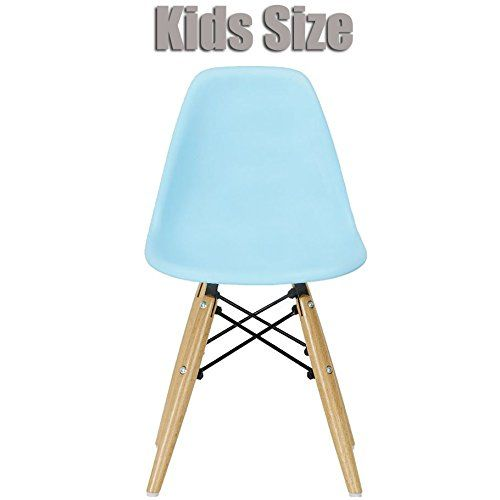 Kids' Desk Chairs - 2xhome  Blue  Kids Size Eames Side Chair Eames Chair Blue Seat Natural Wood Wooden Legs Eiffel Childrens Room Chairs No Arm Arms Armless Molded Plastic Seat Dowel Leg -- Check out this great product.