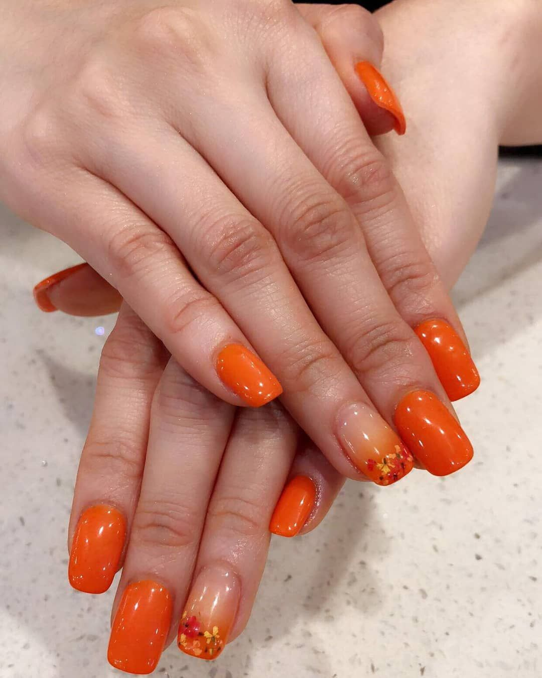 Nailsbyvicky Orange Dip Powder Nails With Ombre Flower Accents Dip Powder Nails Powder Nails Dipped Nails
