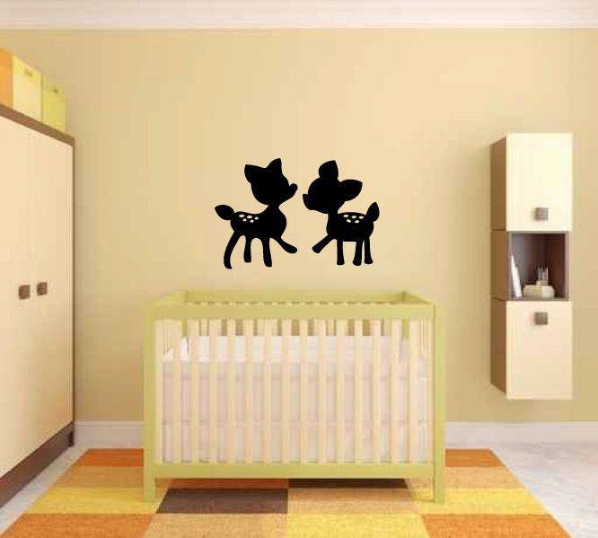 Baby Deer Fawns Silhouette Vinyl Wall Decal Sticker