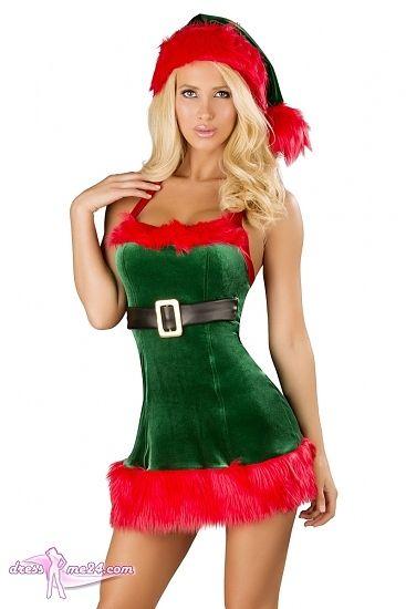 Besuche uns gern auch auf dressme24.com ;-) Weihnachtskleid - Santas Envy - Figurbetontes Stretch Samt Neckholder Minikleid mit auffällig roter Kunstpelzverzierung. Unter der Brust mit schwarzem angenähten Gürtel und Schnalle aus weichem Lederimitat. #Kostueme, #Weihnachtskostueme, #Xmas