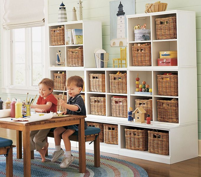 Amazing And Beautiful Playroom Storage Design Ideas With Rattan Basket And Wood Table Furniture Also Roun Playroom Storage Kids Room Organization Ikea Playroom