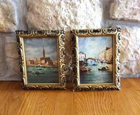 Vintage Italian water canal framed art of The Durges Palace. Vintage ...